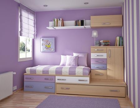 Детская комната для девочки в фиолетовых тонах