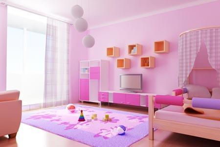 Спальня для девочки в розовых тонах - проект