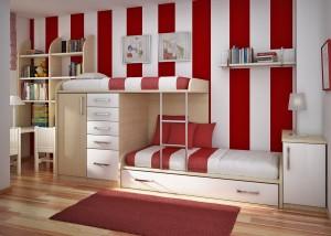 Универсальный дизайн детской для 2 детей: двухъярусная кровать