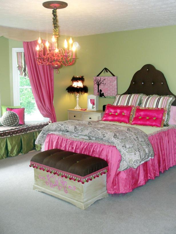 Зеленый и розовый в дизайне комнаты для девочки-подростка