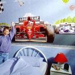 Фотообои с гоночной машиной в детской комнате