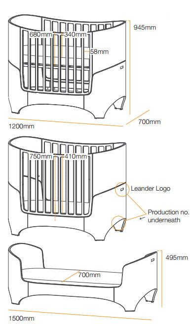 Габариты кроватки от Danish by design