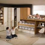 Модульная мебель в детской для трех детей