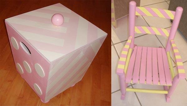 Тумба и стульчик для комнаты девочки, покрашенные своими руками