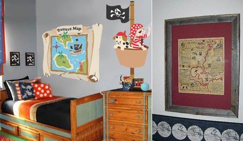 Детская в пиратском стиле: оформление стены