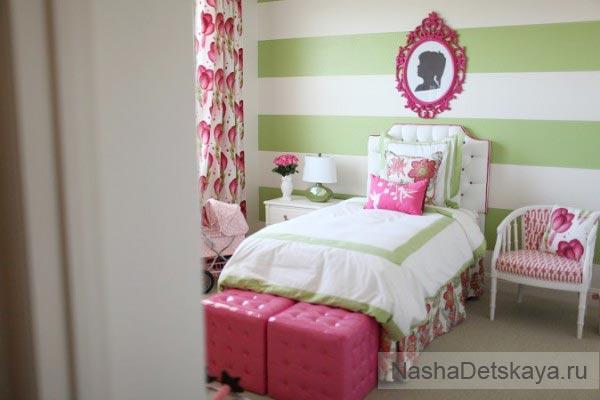 Комната для девочки в зеленых тонах