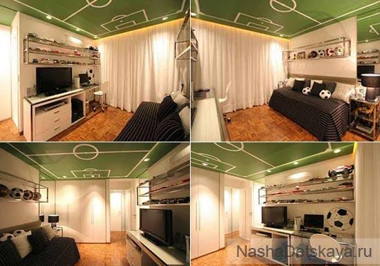 Зеленая комната в спортивном стиле