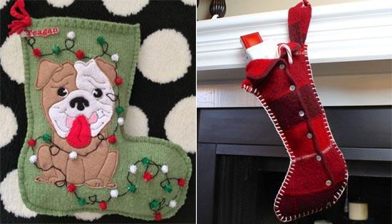 Новогодние носки для подарков из старых кофт
