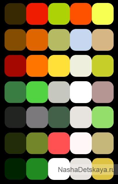 Зеленый цвет в сочетании с другими
