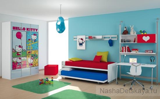 Hello Kitty с голубой стеной