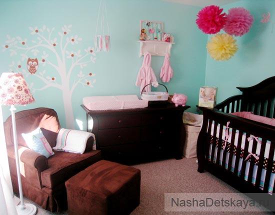 Комната для новорожденного с голубыми стенами
