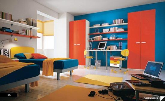 Яркие краски в комнате подростков