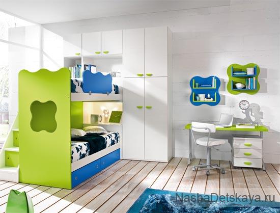 Синий + салатовый в детской комнате