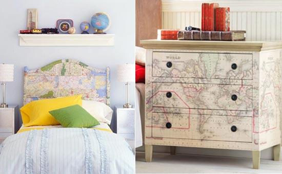 Карта на кровати и на комоде