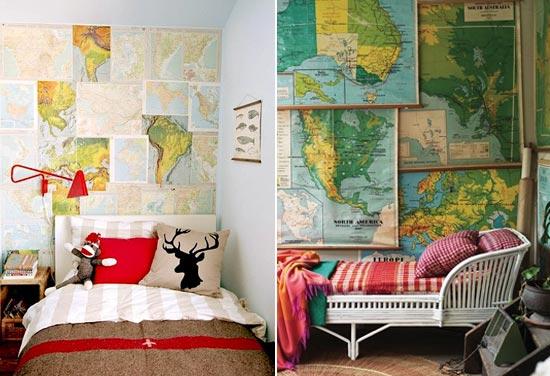 Карты на стене в детской комнате