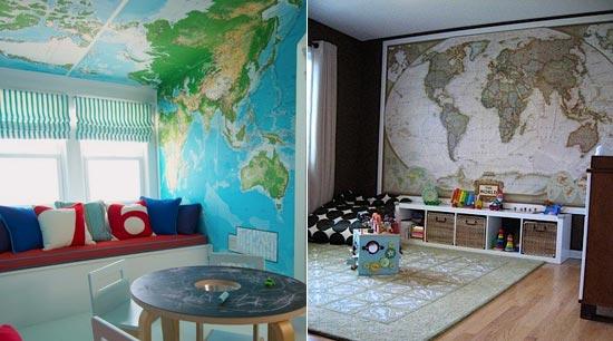 Карты на стене и потолке