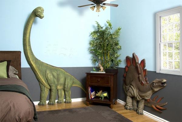 Объемные динозавры на стене