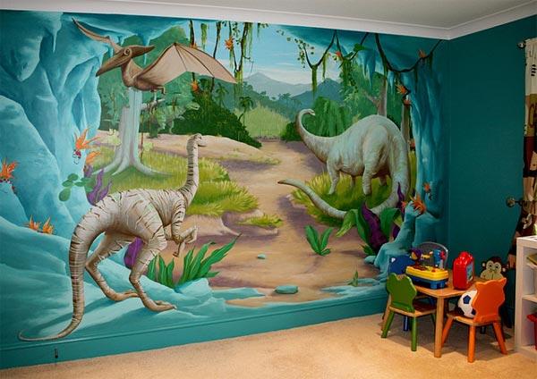 Трехмерные обои с динозаврами