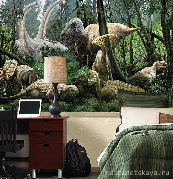 Очень эффектный дизайн с динозаврами