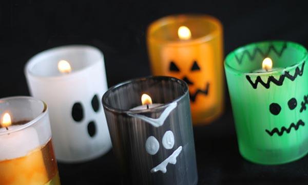 Разукрашенные подсвечники на Хэллоуин