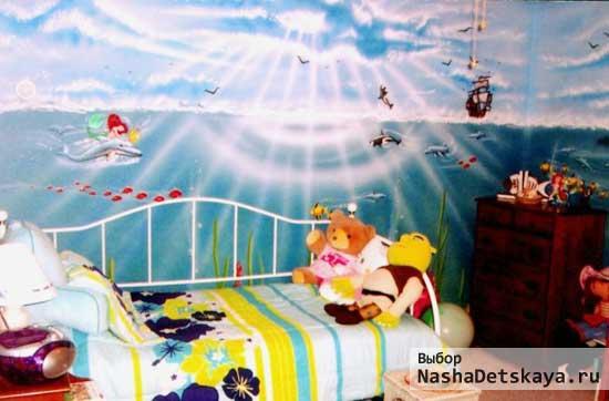 Стена с русалками в комнате маленькой девочки